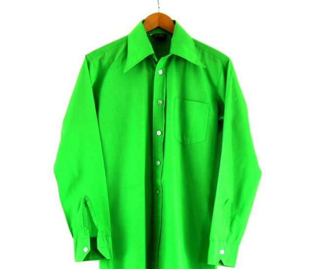 Close Up of 70s Green Shirt With Pointed Collar