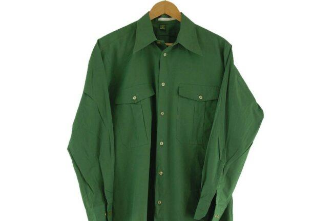 Close Up of 70s Green Safari Shirt