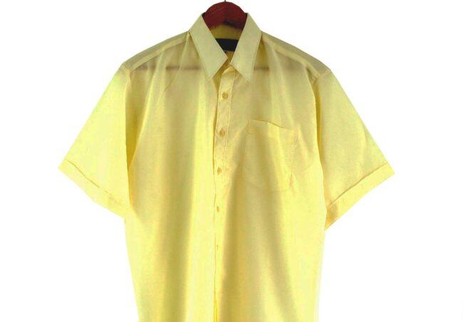 Close Up of 70s Cream Short Sleeve Shirt
