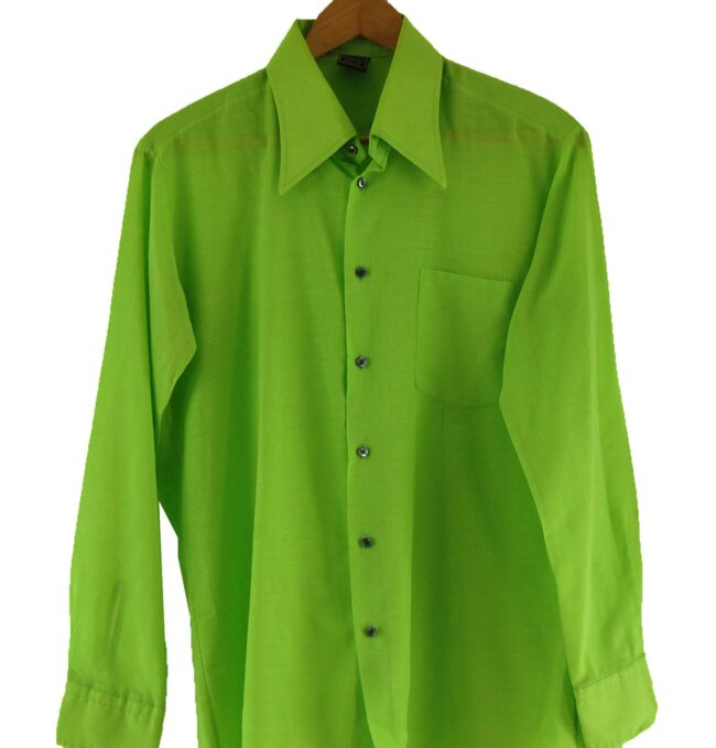 Close Up of 70s Lime Green Shirt