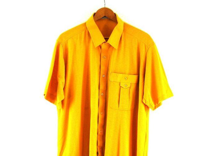 Close up of 70s Yellow Short Sleeved Shirt