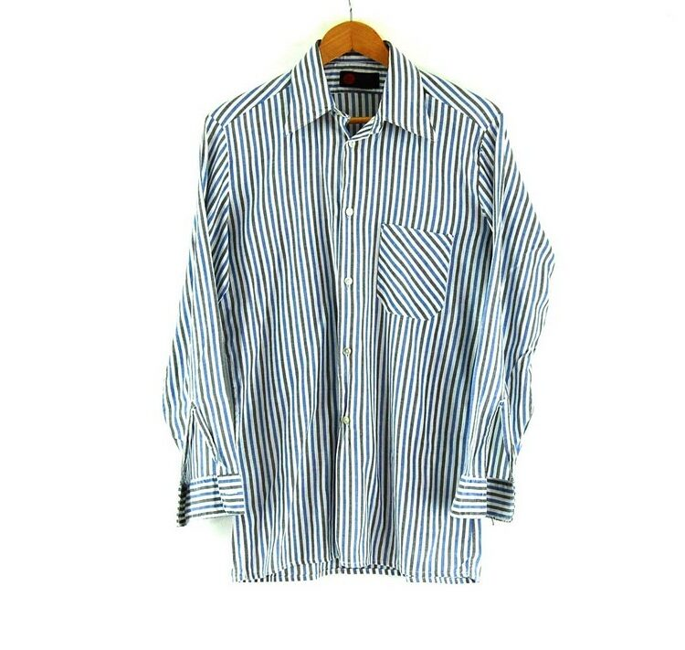 70s Blue and Grey Striped Shirt