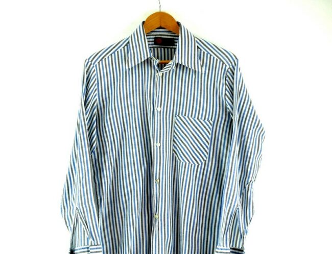 Close up of 70s Blue and Grey Striped Shirt