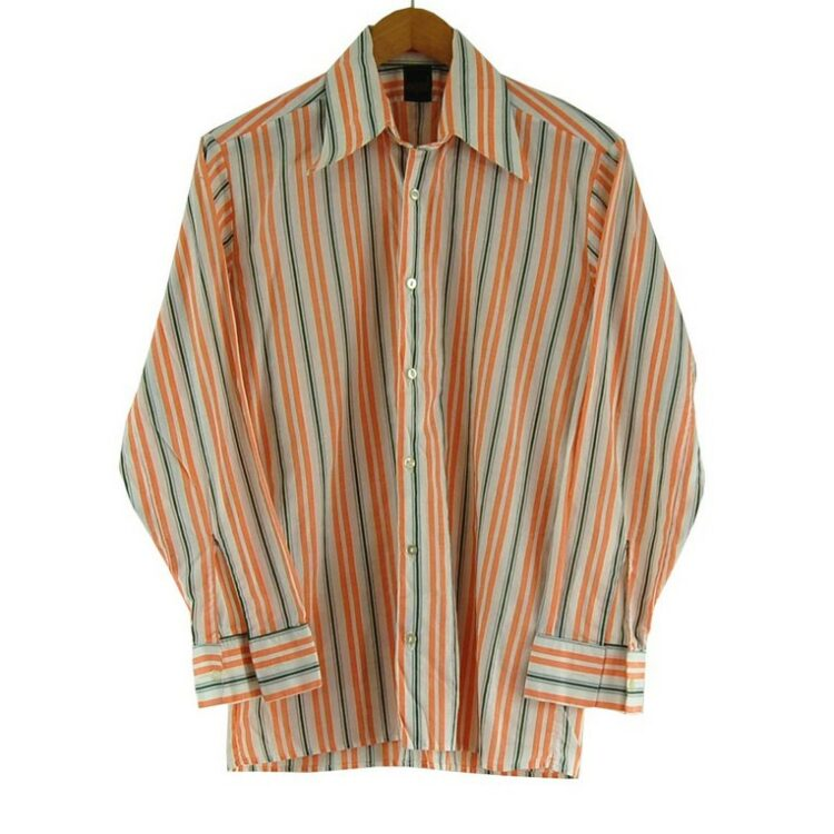70s Orange and Green Striped Shirt