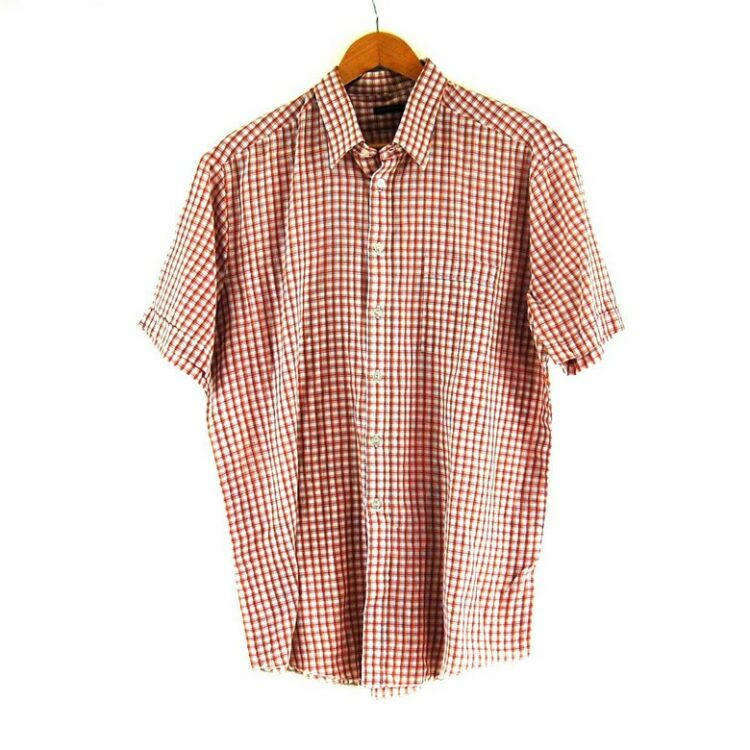 70s Red Check Short Sleeve Shirt