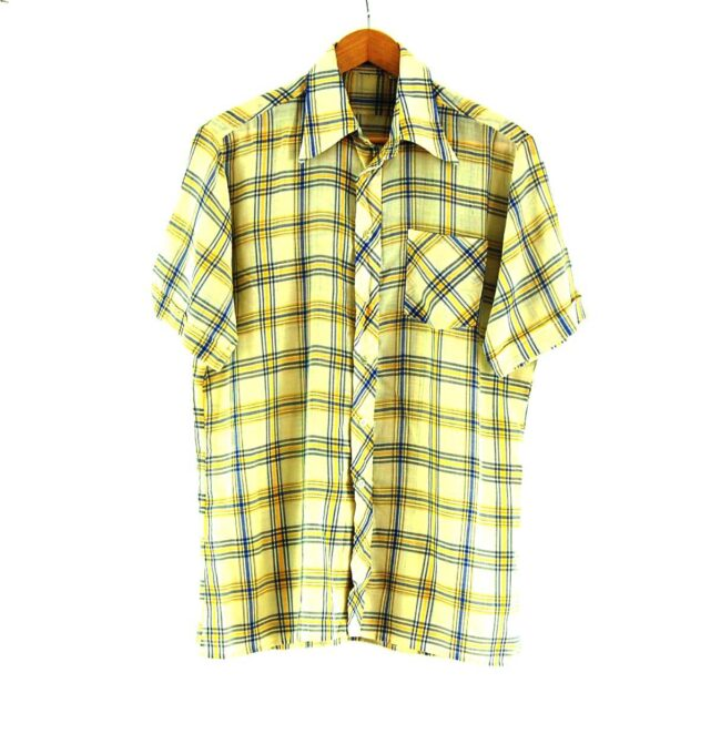 70s Yellow and Blue Checked Shirt