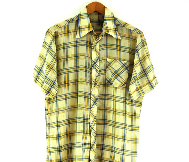 Close Up of 70s Yellow and Blue Checked Shirt