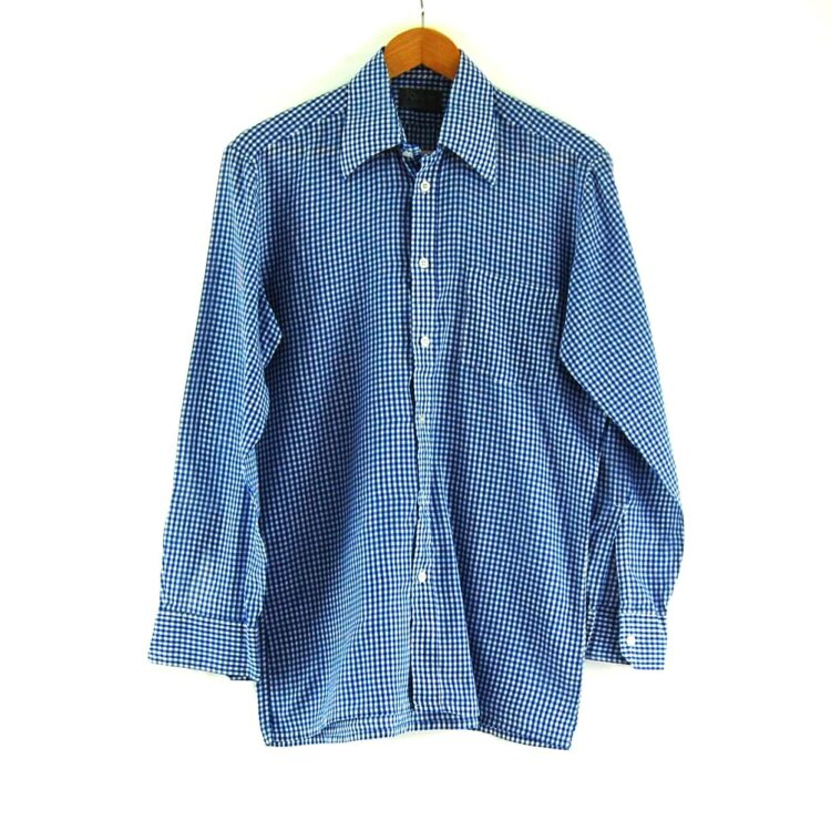 70s Blue and White Gingham Shirt