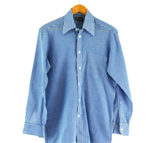 70s Blue and White Gingham Shirt Close Up