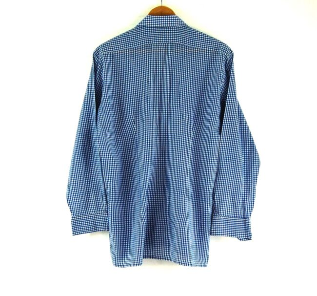 70s Blue and White Gingham Shirt Back