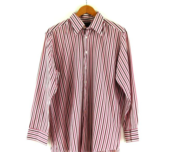 70s Purple Stripe Shirt Close Up