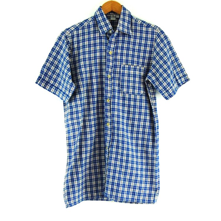 70s Blue Checked Short Sleeved Shirt