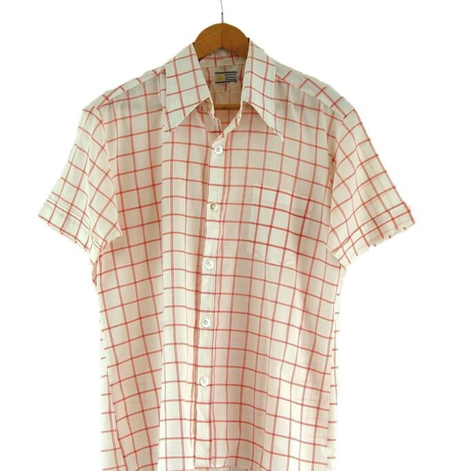 70s Red and White Checked Shirt Close Up