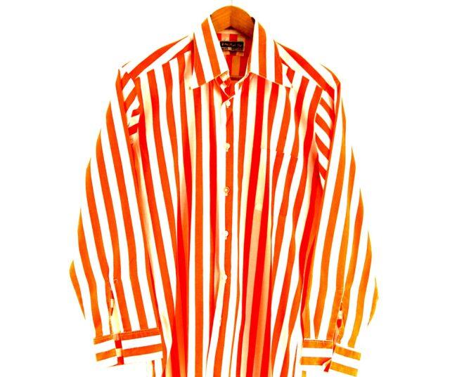 70s Orange Striped Shirt Close up