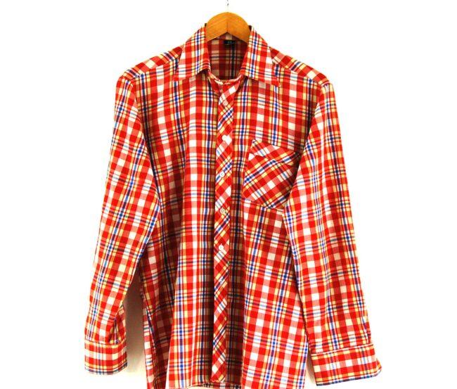 70s Red Check Shirt Close Up