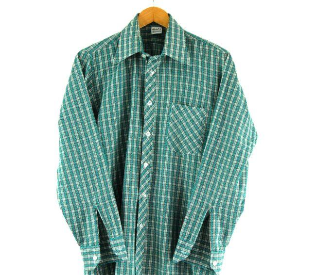 70s Green Checked Shirt Close Up