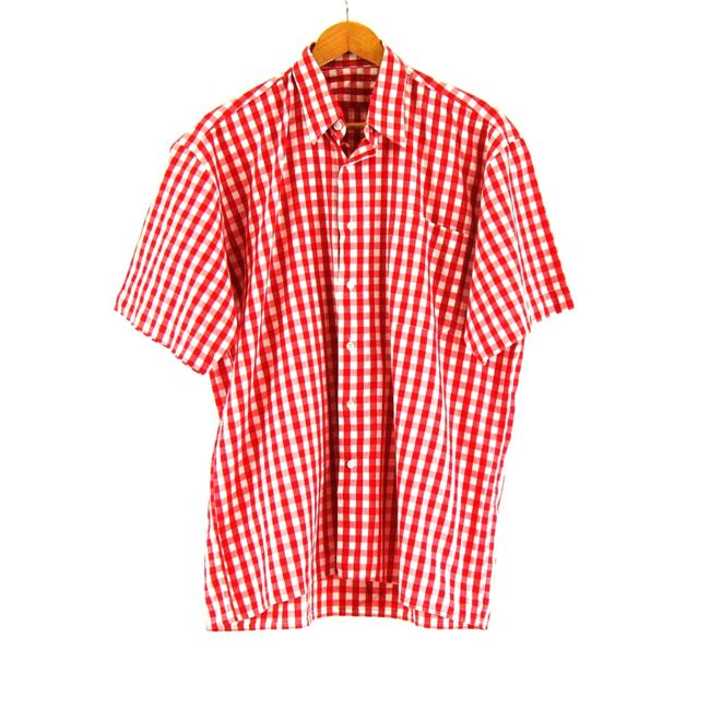 70s Red Short Sleeve Gingham Shirt