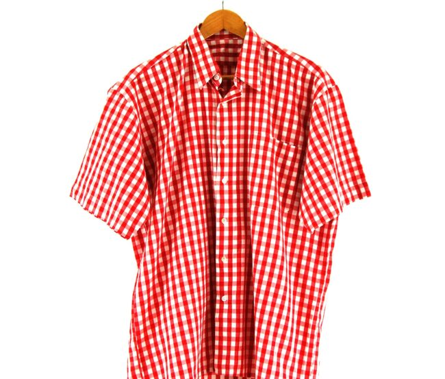 70s Red Short Sleeve Gingham Shirt Close Up