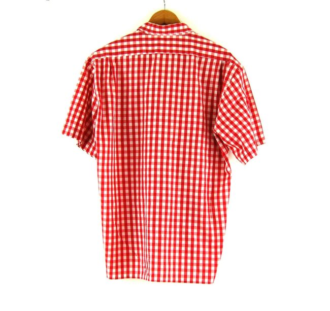 70s Red Short Sleeve Gingham Shirt Back