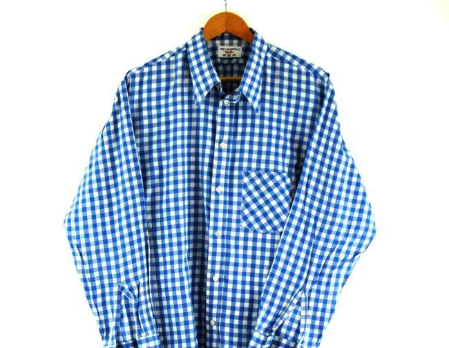 70s Blue Gingham Shirt Close Up