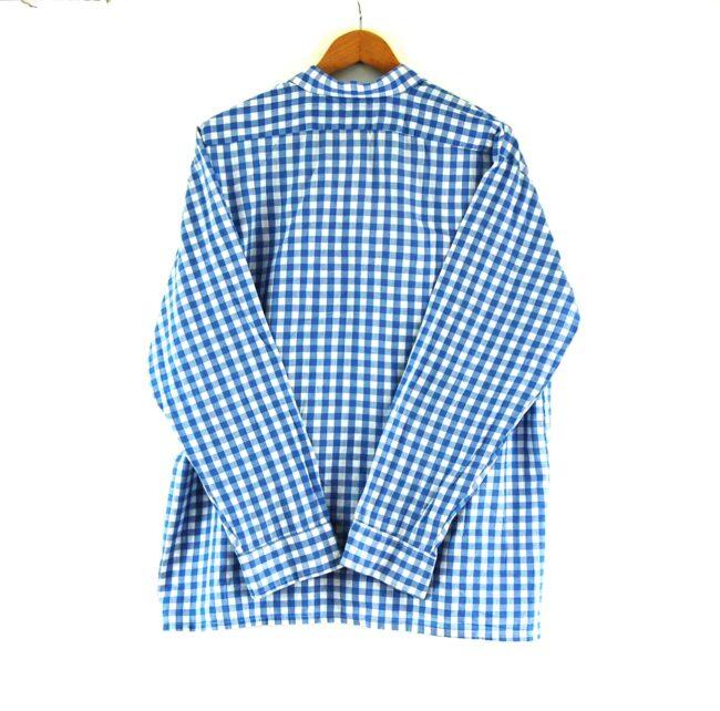 70s Blue Gingham Shirt Back