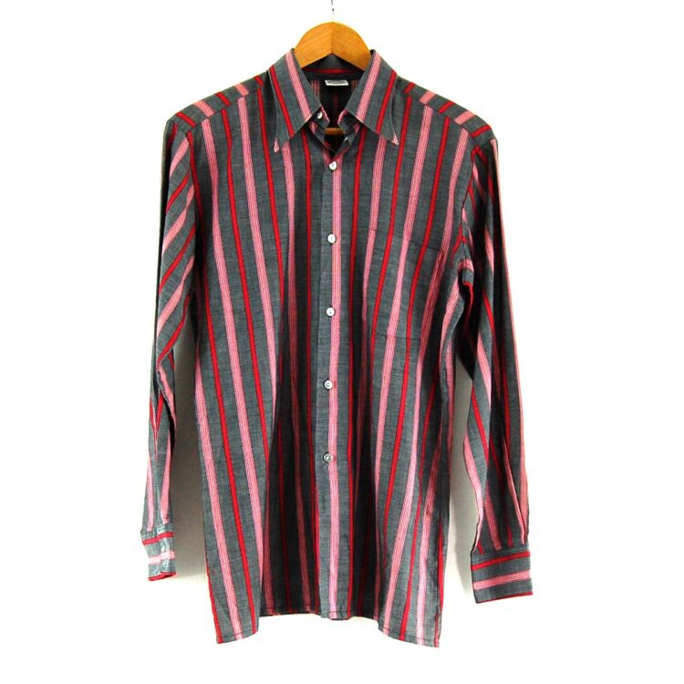 70s Grey and Red Striped Shirt
