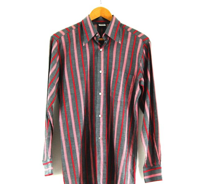 70s Grey and Red Striped Shirt Close Up