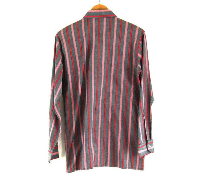 70s Grey and Red Striped Shirt Back