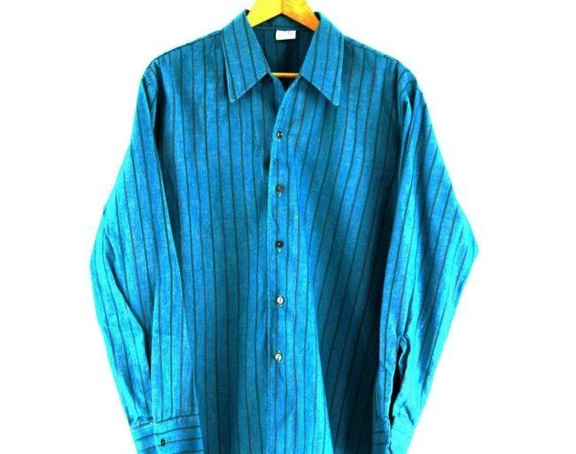 70s Blue Striped Shirt Close Up