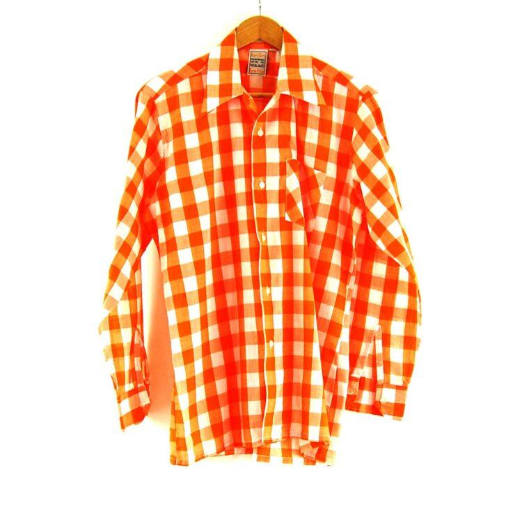 70s Orange Gingham Shirt