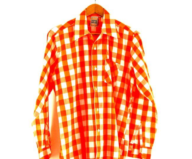 70s Orange Gingham Shirt Close Up