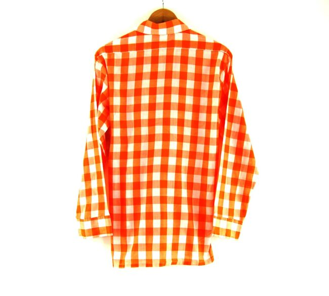 70s Orange Gingham Shirt Back