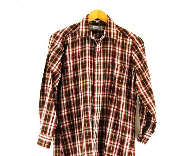 70s Checked Long Sleeved Shirt Close Up