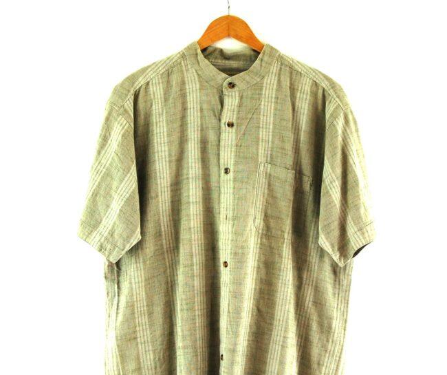 Brown Short Sleeve Tunic Shirt Close Up