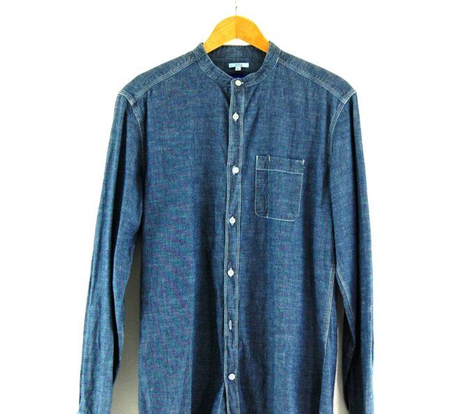 Blue Chambray Tunic Shirt Close Up