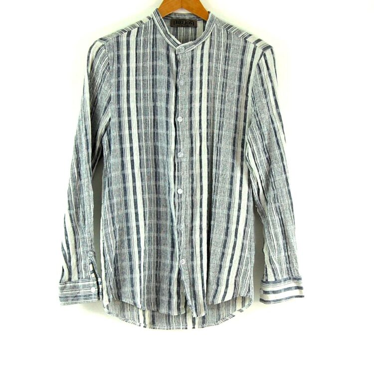 90's White and Blue Striped Tunic Shirt