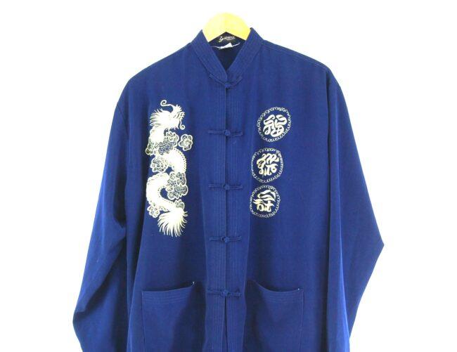 Blue Chinese Silk Jacket Close Up