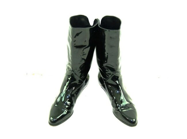 Front of 80's Black Patent Leather Boots