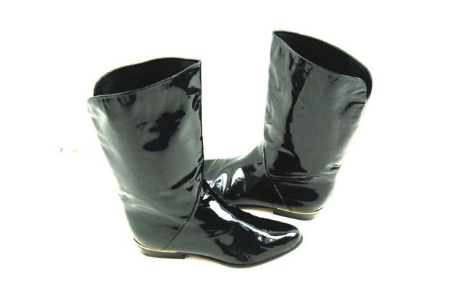 Side of 80's Black Patent Leather Boots
