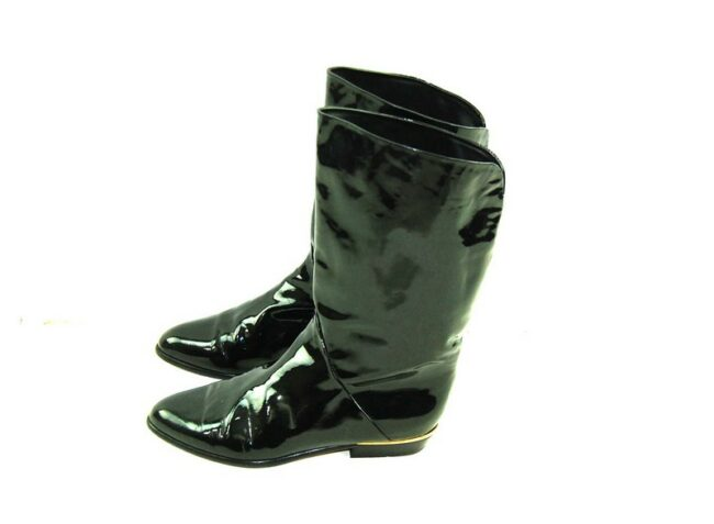 80s Black Patent Leather Boots