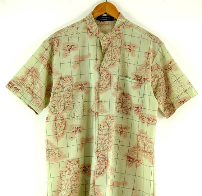 70s Map Print Shirt Close Up