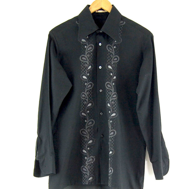 70s Black Embroidered Shirt