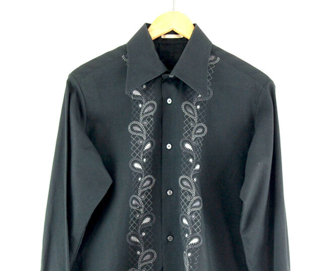 70s Black Embroidered Shirt close up