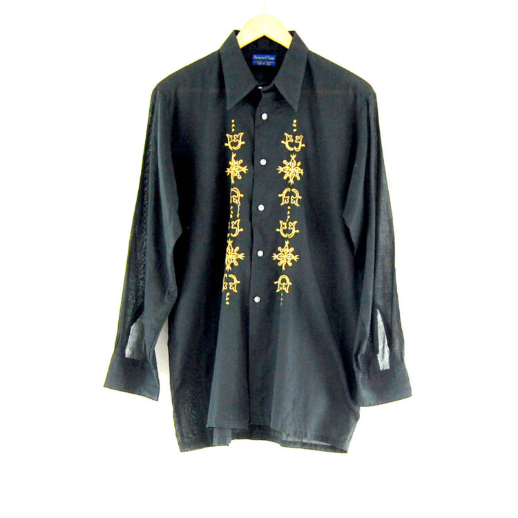 70s Black and Gold Embroidered Shirt