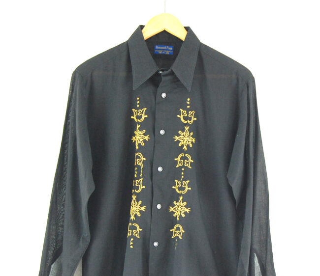 70s Black and Gold Embroidered Shirt Close up
