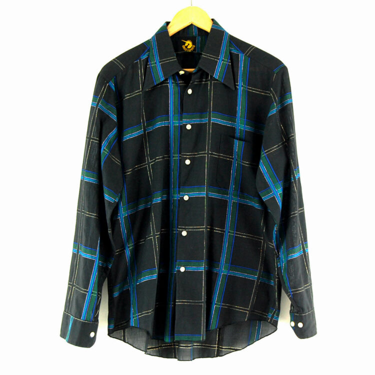 70s Black Plaid Shirt