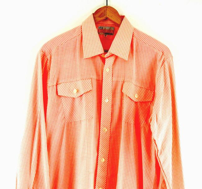 70s Peach Checked Shirt Close Up