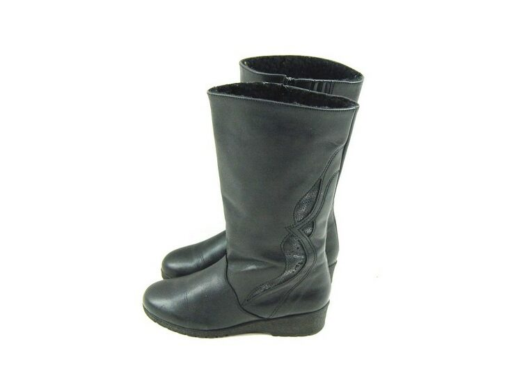 80s Wedge Heel Leather Boots