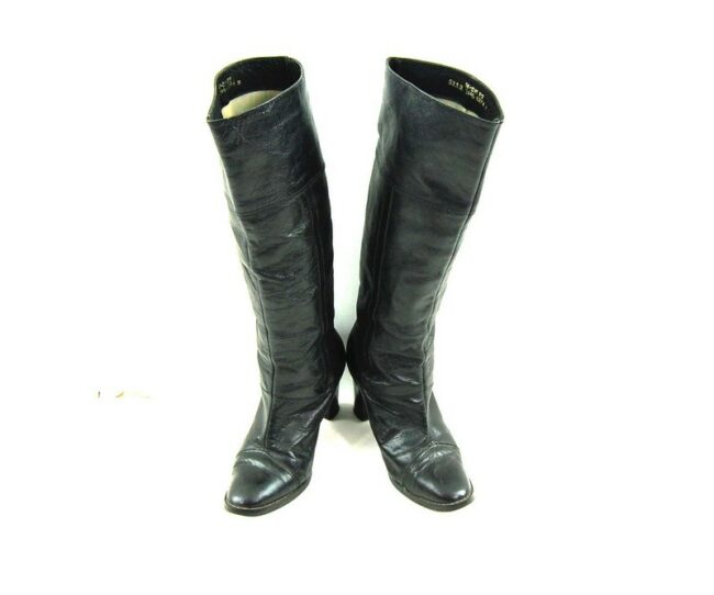 Front of 80s Black Knee High Boots