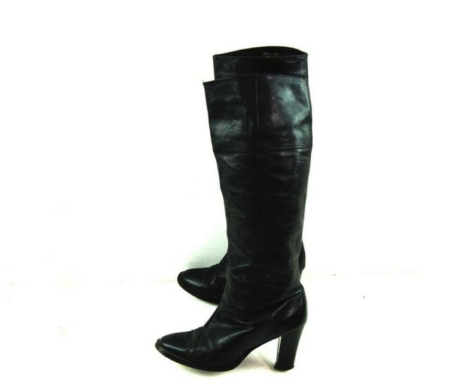 80s Black Knee High Boots